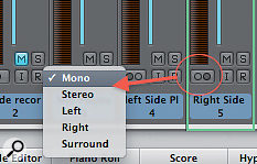 Selecting the playback mode on Channel Strips.