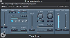 1. Set up your Tape Delay plug-in as follows, making sure you set the Feedback to zero and the delay time to be sync'ed to the project tempo.