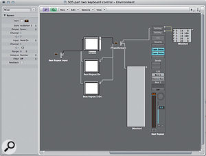 The Inspector settings for the Bypass button and the routing of the 'Beat Repeat Input' Transformer.