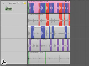 Take folders can be used to create glitchy edits between drum loops. Shift-clicking aselection creates asection of silence, which can be seen in the composite track at the top.