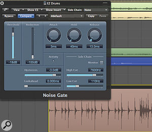 Using Logic's Noise Gate to clean up your drum tracks before you start attempting to replace the drums will make things run alot more smoothly.