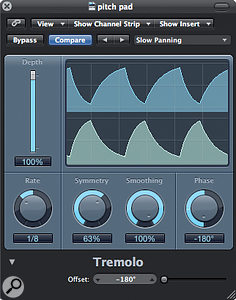1: This shows Logic's in-built Tremolo plug-in adjusted to provide an eighth-note auto-panningeffect.