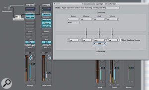 Layout & Settings: Here we can see the Environment layout and Transformer settings for layering two channel strips, with the second transposed down an octave.