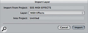 The Import layer function in Logic makes it easy to import Environment layers from other projects into your current project.