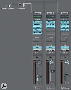 Delay Object: This shows how to use the Delay Line object in the layering process to send different MIDI echoes to different software instruments.