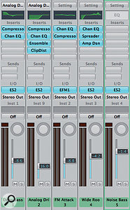 Multiple audio instruments, including associated processing, can easily be combined into asingle sampler instrument.