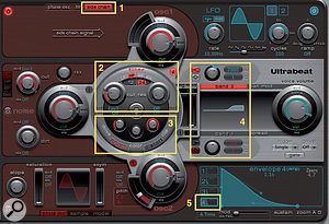 3: These five sections of Ultrabeat are the keys to using it as a powerful effects processor.