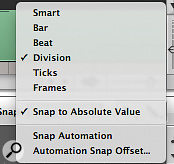 To edit note lengths and timings to the grid, select both the Division and Snap to Absolute Value options in the Snap Mode menu.