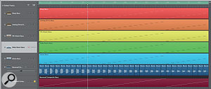 Bouncing the composite sound results in asingle audio track that can be cut into regions and easily converted to an EXS-24sampler instrument.