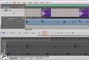 You can align single audio events — for example, layering an electronic snare drum with asampled drum break in Logic — by using the Forward by Transient key command and pasting the snare at the playhead position.
