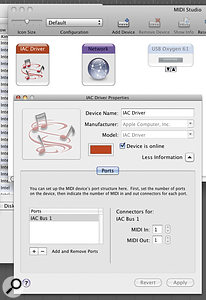 Mac OS X gives you the ability to transfer MIDI data between applications using the IAC driver.