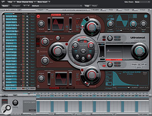 The Ultrabeat Interface: the three circles surrounding the central filter are the sound generators. To the far left of each is a small power button, and next to each is a small grey button that enable the noise generators to feed into the filter.
