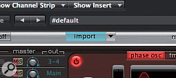 Import allows you to drag any single drum element from the Import menu onto a drum sound in the active kit.