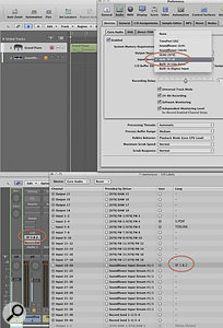 The settings circled in red are required to set up SoundFlower to route audio back into Logic Pro.