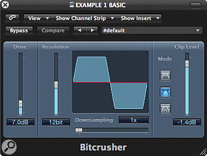 The Bitcrusher plug‑in can produce some great clipping and distortion effects, giving bass sounds amore aggressive timbre.