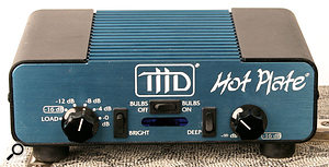 If you must use a large tube amp, a power soak such as the THD Hot Plate pictured here will allow you to drive the amp harder without increasing the overall volume.