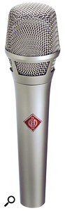 For vocal recordings, a studio side-address mic will usually pick up too much spill. If you need to record the vocals live, a stage mic is probably a better option. You don't have to settle for a dynamic mic, though, as there are now plenty of stage condensers around, such as the Neumann KMS105 (pictured) and the Rode S2.