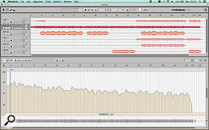 Here, I've dropped a  collection of audio files that make up a  small multitrack recording into Melodyne Studio. It has correctly identified the acoustic guitar as the main rhythmic element and has generated a  tempo map (visible in the lower half of the screen) that reflects the tempo of the session as a  whole.