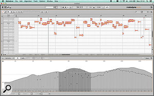 The EQ page of Melodyne's Sound Editor represents the 'mean spectrum' of your source(s) as a  spectrogram in semitone divisions. The dark grey dots move up and down to show the instantaneous real–time value at each frequency. My screenshot hasn't captured the mouse pointer, but you can see that I'm using the curve tool to apply a  broad lift to the selection centred around middle C.