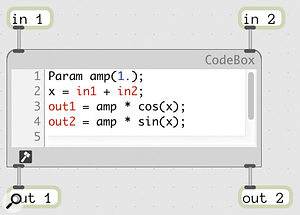 A codebox is a special container for DSP code written in GenExpr.