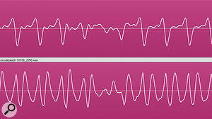 It's often hard to judge the relative polarity and timing offset of mic and DI bass signals by looking at their waveforms, (upper pair). It's easier if you focus on transients, such as the note onset (lower pair). Even then, though, you need to use your ears.