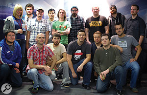 The Mass Effect 3 audio team in a photo taken at the height of production, when the team was at its biggest. Back row, from left: Robyn Theberge, Jordan Ivey, Andrew Gray, Patrick Biason, David Murphy, Terry Fairfield, Matt Besler, Joel Green, Brenden Frank; front row, from left: Daniel Busse, Rob Blake, Steve Bigras, Frank Petreikis, Mike Kent, Real Cardinal, Jeremie Voillot.