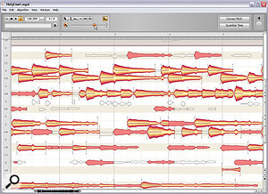 Melodyne Editor's Note Assignment mode, where you'll spend agood deal of time adjusting note detection when working with polyphonic audio. The little round orange slider under the tool palette allows you to decide how many of Melodyne's suggested note pitches are actually used for processing purposes. I'm moving the slider to the right here, so more note blobs are in the process of being activated.