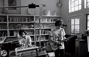 MGMT's Ben Goldwasser (left) and Andrew VanWyngarden at work in the Malibu house in which Congratulations was mostly recorded.
