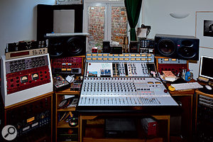"""""""Ithink of it as amassive problem, really..."""" The studio in which One Pig and other recent Matthew Herbert productions have been mixed is based around aRupert Neve Designs 5088 modular desk."""