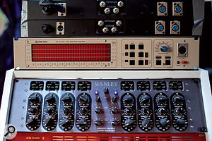 Here, two rare '60s Lomo valve mic preamps sit atop a Klark Technik spectrum analyser and Manley Massive Passive EQ.