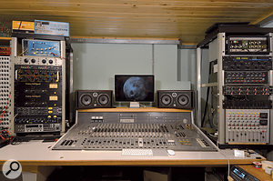 The Steam Room is based around avintage Swedish analogue mixer, and boasts asmall but high-quality collection of outboard. Left rack, from top: Watkins Copicat tape delay, Summit TPA200B preamp, Valley People PR2A, EAR 825Q and 660 Limiting Amplifier (x2), Drawmer 1960 compressor, TL Audio C1 compressor and Boss GT Pro guitar effects. Right rack, from top: Roland RE201 Space Echo, Lexicon MPX1 reverb, Mu-Tron Bi-Phase phaser, Klein & Hummel UE400 EQ, Drawmer 1961 EQ and Audio Developments mixer.