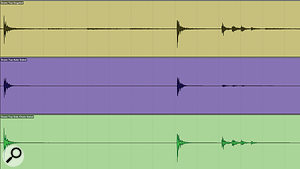 In this screen shot, the top (brown) channel is the un‑gated snare top mic. The centre (blue) channel is the same signal, but with inaccurate auto‑gating applied. The bottom (green) track shows the same section, but with side‑chain gating applied. As we can see, the auto‑gating has affected the crucial transient attack of the first snare hit, and severely truncated the buzz‑roll occurring after the second hit.
