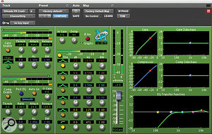 Tonal control over each separate element of the drums is essential for gaining the punch and clarity required. The overhead mics are thus not used so much to provide an overall 'picture' of the kit, but more as spot mics for the cymbals. With this in mind, the HPF on the overheads and hats can be set as high as 550Hz. Getting this right can easily be done by concentrating the ear on the high‑frequency content while slowly moving the HPF up until it starts thinning out the cymbals or hats, then moving the setting back slightly. A slight boost in the 10‑12kHz region has been applied in this screen shot to add some definition and brightness.