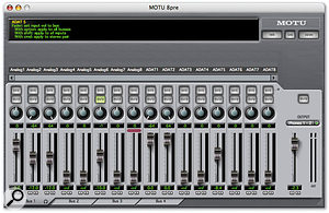 The Cue Mix Console: this is the application MOTU provide for controlling the 8Pre's zero-latency monitoring and routing. Here, all 16 inputs are shown being mixed to the headphone output. Up to four simultaneous stereo mixes can be set up, to any of the analogue or digital outputs.