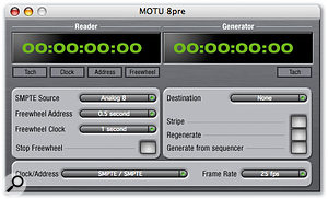 Two additional bundled applications, MOTU Audio Setup and MOTU SMPTE Setup (above) allow various 8Pre settings and facilities to be configured.