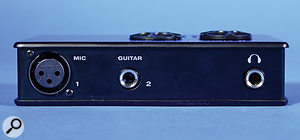 The MicroBook II's front edge features an XLR mic input, ahigh-Z guitar input and the headphone port. The back panel plays host to the USB port, anS/PDIF output, stereo mini-jack and quarter-inch jack line ins for channels 3 and 4, stereo mini-jack output for channels 3 and 4 and quarter-inch jack for the main outputs.