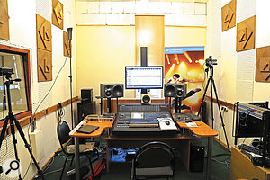 The Sound Engineering Department's control room as set up for Mike's mixing workshop. Notice the close spacing of the Neumann KH310D monitors, a  response to the room's rather reflective acoustic environment. Above the console meterbridge can be seen an Avantone Mix Cube, which provided single-driver mono mid-range monitoring — a  vital balance tool under the circumstances.