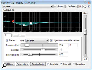 Referencing a  basic initial balance of the raw recordings against some commercial releases revealed that the overall tonality had drifted awry during the tracking session, so some processing from Reaper's ReaEQ was inserted into the main mix bus to redress this. In addition, an instance of Variety Of Sound's Baxter EQ was used to add a  more pop-friendly high-end sheen.