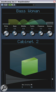 The first tactic Mike employed to thicken themid-range of the DI'd bass-guitar part wasre-amping it through Cubase's Amp Simulator plug-in.