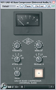 Universal Audio's recent emulation of SSL's famous quad compressor, the 4k Buss Compressor, was used both for parallel compression of the drum sound and as amaster-bus insert. Here you can see Mike's settings for the former application.