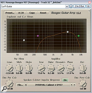 These are just afew of the distortion plug‑ins thatMike used to differentiate the synth soundsforhis Punkdisco remix: Voxengo's Boogex andDarkware's El Fuego and Battery Acid (above); Darkware'sGlitchGirl (left); and Silverspike's RubyTube (above).