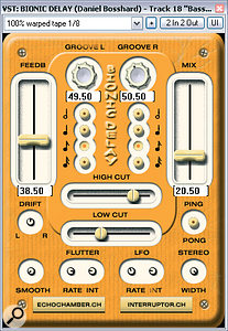 The delay treatments Mike used were given unique characters in avariety of ways. Some of them were created using emulations of vintage tape delay units such as The Interruptor's Bionic Delay, while others were radically EQ'd or further processed with old‑style effects such as The Interruptor's Wow N Flutter or Voxengo's Old Skool Verb.