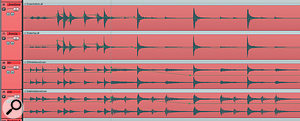 Here you can see some of Mike's automation data for the drum parts, specifically some detailed fader moves on the snare close mics to adjust the feel of afill, and amomentary push of the overhead and ambience mics to emphasise an important crash‑cymbal hit.