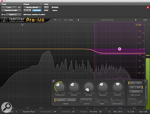 Two instances of FabFilter's Pro-MB at work on the vocal track. The high-frequency compression in the first one is triggered from the rhythm guitar. Note that despite the extreme Ratio and Knee settings, the Range control ensures that no more than 3dB of gain reduction can take place. In the second, the lower of the two bands is configured as an expander, boosting 500Hz only when triggered by the vocal signal.