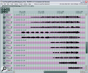 Here are the backing vocal parts as they arrived for Mix Rescue, and if you look at the waveforms you can see why Mike decided to mult them across agreater number of tracks. For example, notice that tracks 29 and 30 belong together to start with, but then at bar 107, track 29 suddenly has more in common with tracks 31 and 32, while track 30 matches track 28 more closely. Editing similar vocal sections to adjacent tracks made it much easier to control each group during the mix's heavily layered final section.