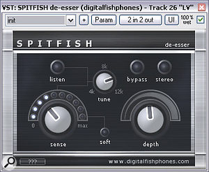 Because heavy compression was used as a vocal effect, sibilance proved a problem. Applying Digital Fishphones' freeware Spitfish de‑esser helped, but the sensitivity had to be tweaked under automation control to achieve satisfactory results.