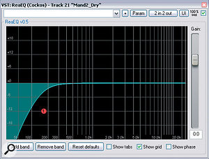 If you're striving for clarity, it's worth high‑pass filtering most of the tracks in your mix. However, it also pays to refine the frequency and slope characteristics of each filter quite carefully to get just the right amount of low end, as in these EQ plots from the remix.