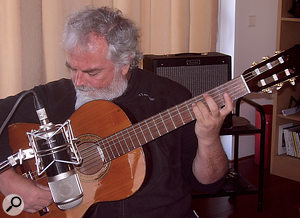 Santi's intricate guitar playing was recorded with a single Charter Oak SA538 large‑diaphragm valve microphone, positioned a couple of feet away from the instrument.