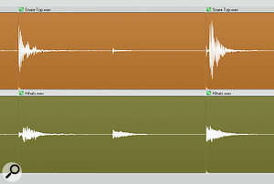 Here you can see acouple of different 'snare plus hi-hat' composite hits, which caused some difficulties when trying to quantise the drums. Quantising whichever spoke first seemed to achieve the smoothest result in this case, but it's something you can never tell without using your ears.
