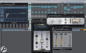 The plug-ins Paul used to process the main vocal. Rather than undertaking detailed level automation, he used Waves Vocal Rider to smooth out the levels, before applying a limiter to catch the most wayward peaks.